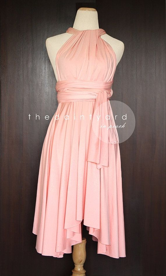 d6820ed5ced TDY Peach Short Asymmetrical Bridesmaid Dress Convertible Dress ...