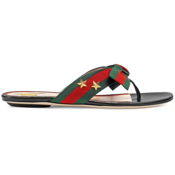 7f47162ba540 Gucci Studded Grosgrain Web Thong Sandal ( 405) ❤ liked on Polyvore  featuring shoes