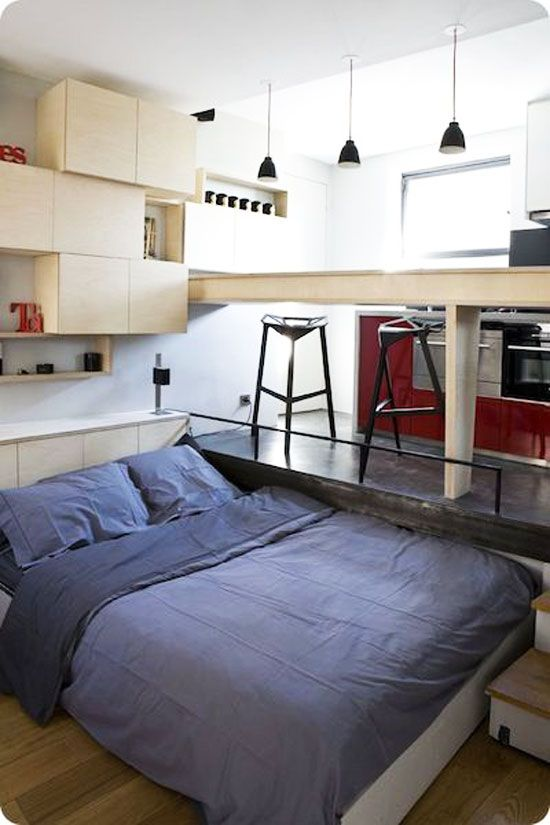 A master bedroom becomes a (very cool) 130 SF apartment.