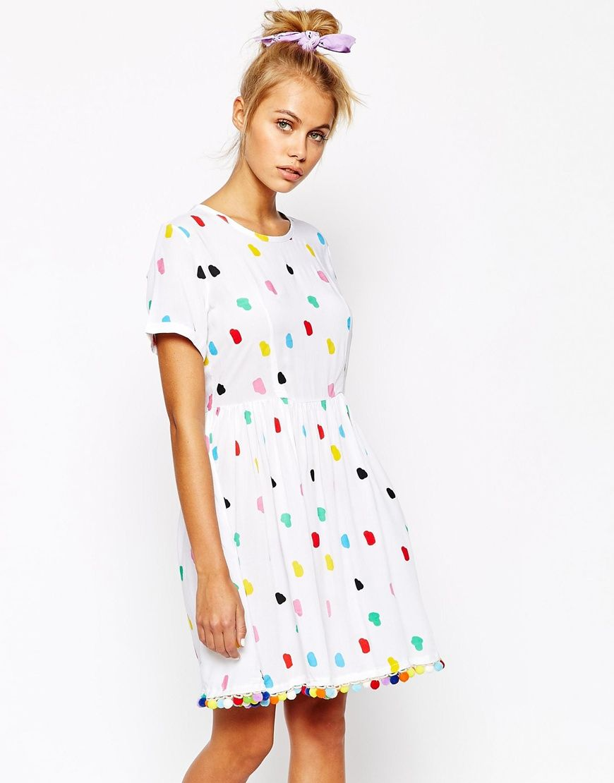 76a5fdca4d Lazy Oaf Dress With All Over Pom Pom Print I see this is sold out but I  love this. Probably a size small or medium
