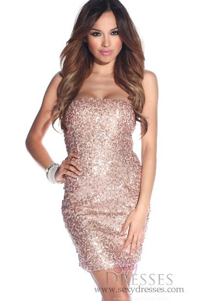 e5aa0fd9fab8d Cute Copper Sequins Strapless Tube Top Dress --Sparkle on girlfriend!!  www.sexydresses.com