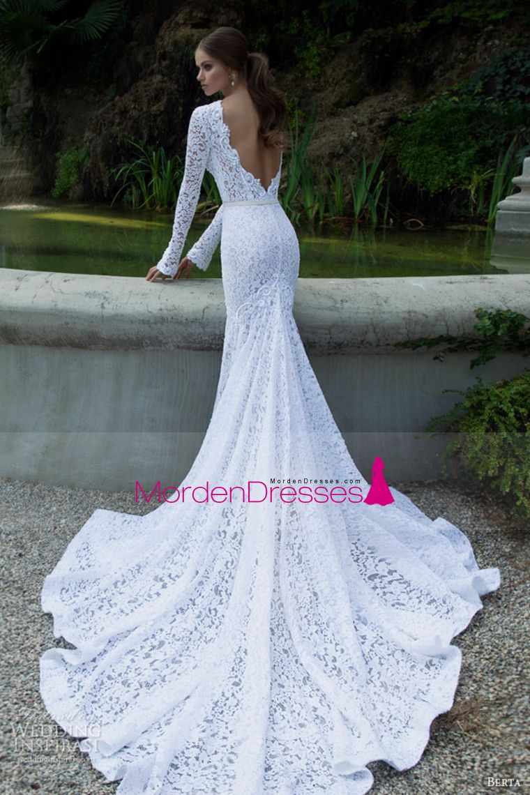 long sleeves wedding dresses scoop lace with sash sweep train
