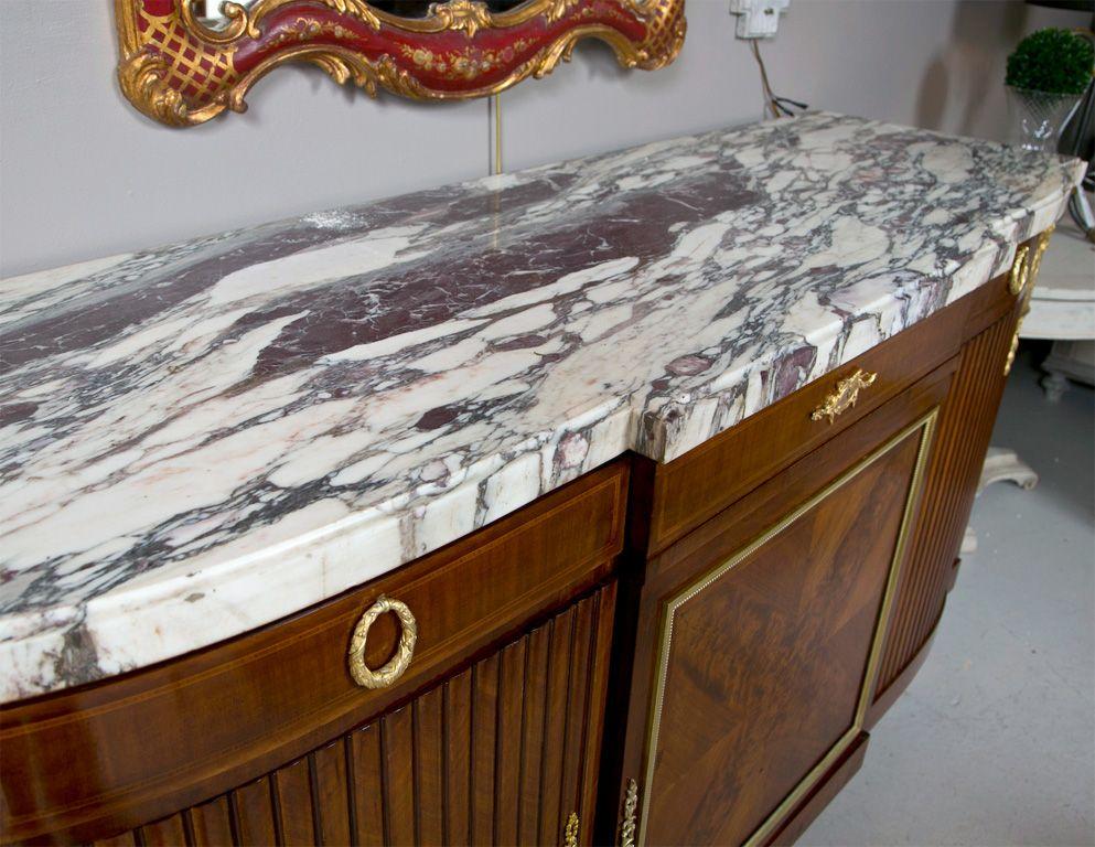 French Louis XVI Style Marble Top Mahogany Sideboard   Mahogany ...