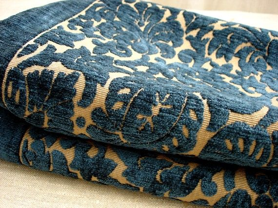 Midnight Blue And Beige Chenille Damask High End Upholstery Fabric