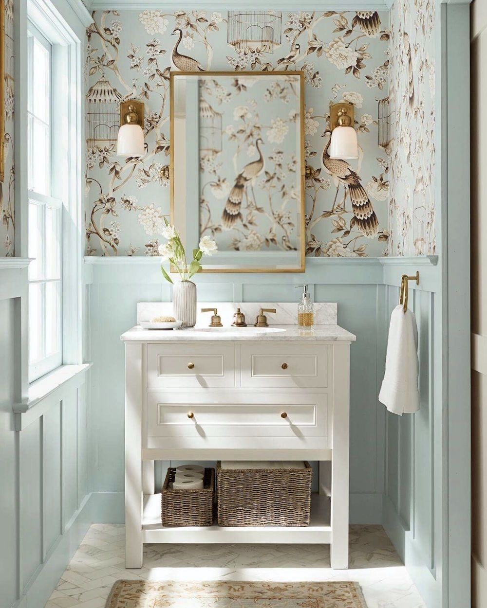 Photo of Corrected – Pottery Barn cool blue and white bathroom – best pale blue paint colors copy