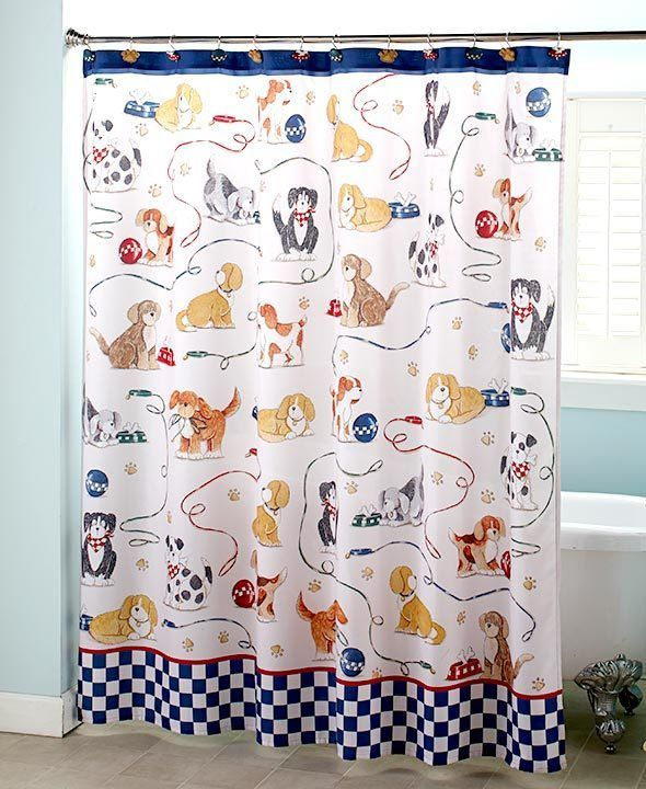 Dog Shower Curtain Playing Puppies Print Bath Decor Fun Bathroom