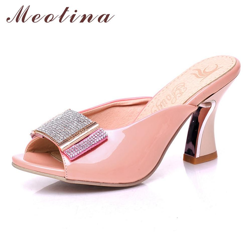 Meotina Shoes Women Sandals Summer Peep Toe Slides Chunky High Heels Crystal Beading Slippers Ladies Shoes Pink White 34-39