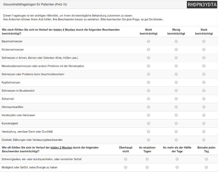 Psydix Org Patient Health Questionnaire 15 Phq 15 Psychologisch Gesundheit Fragen