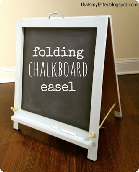 Kids Folding Tabletop Chalkboard Easel... Use Thin Plywood/MDF, Add A Clip  At Top For Painting Easel