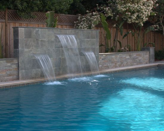 Pool Fountain Pool Waterfall Pool Water Features Backyard Pool