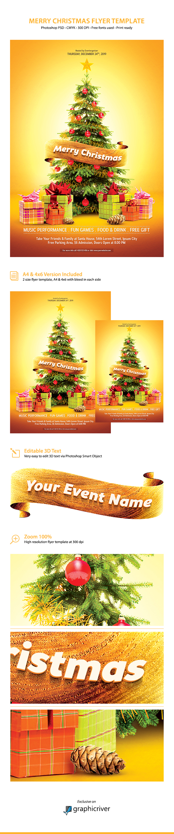 Merry Christmas Flyer Template Graphicriver By Affant On