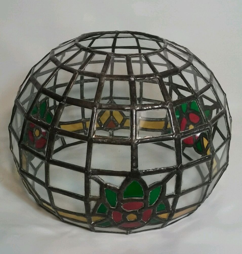 Tiffany style stain glass lamp shade pewter yellow green red vintage tiffany style stain glass lamp shade pewter yellow green red vintage 95w mozeypictures Gallery