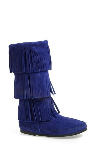Minnetonka 3-Layer Fringe Mid-Calf Boot in Peacock Blue ...