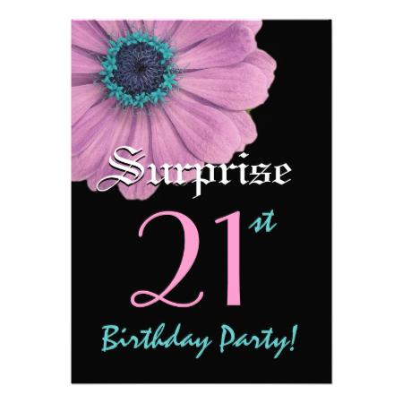 SURPRISE 21st Birthday Template Pink Daisy Custom Announcements Jaclinart Invitation Favor Surprise Invites 21stBirthday