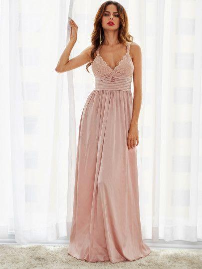 Langes kleid mit spitze rosa