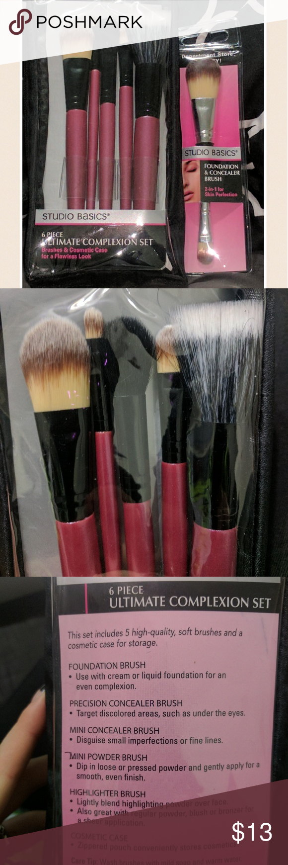 Set of Studio Basics Make Up Brushes Brand new 6 pack and foundation and concealer brush, brand new never opened Makeup Brushes & Tools