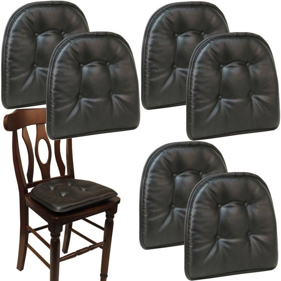 Black Chair Cushions Pads Set Of 6 Faux Leather Kitchen Dining Seat Pillow Home Gripper Kitchen Chair Cushions Chair Cushions Leather Kitchen