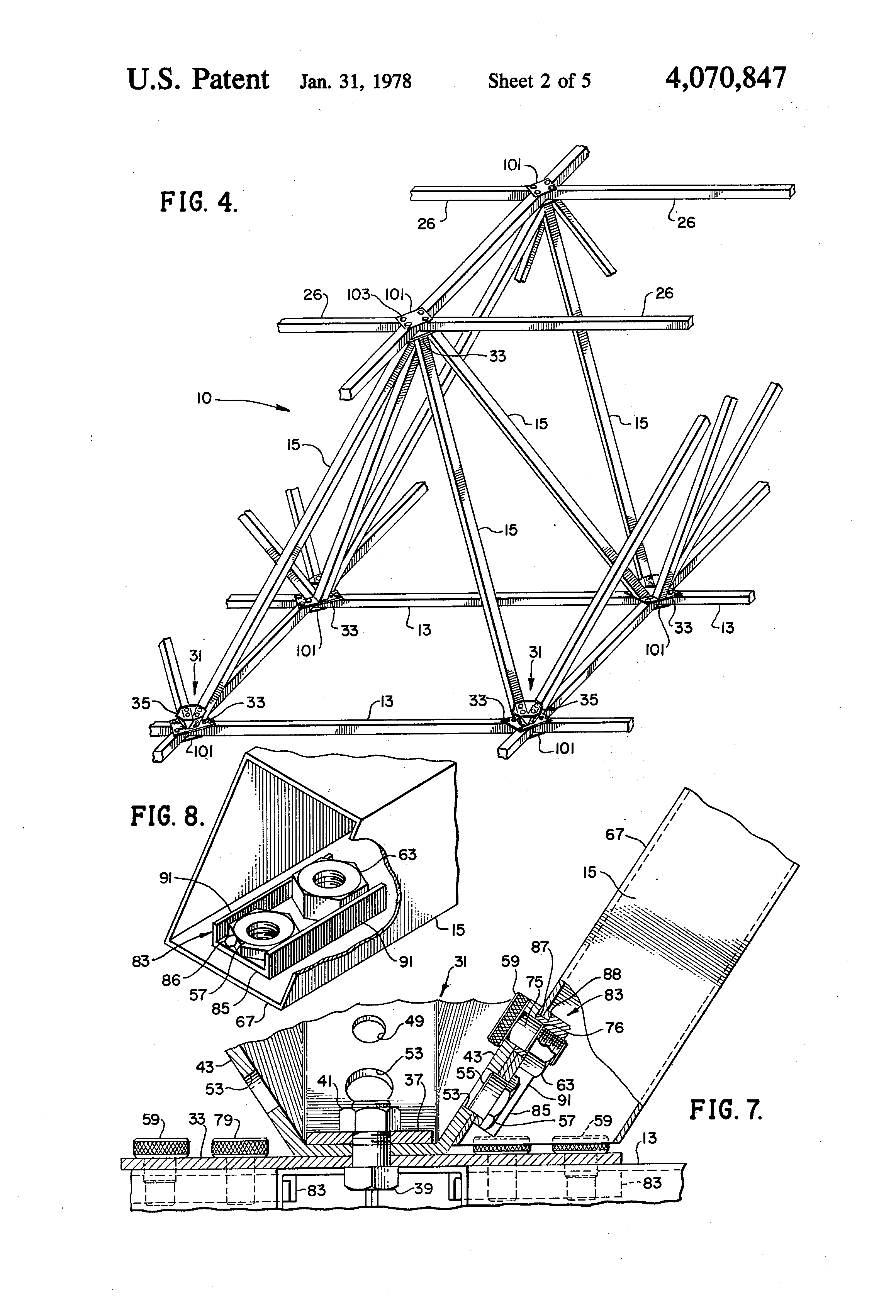 space frame structure us 4070847 a
