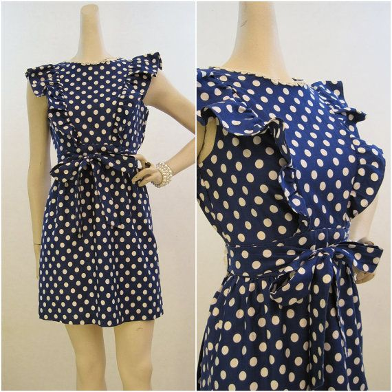 60s 70s Dress Vintage Polka Dot Pinafore Wrap- use new vintage pattern i just got