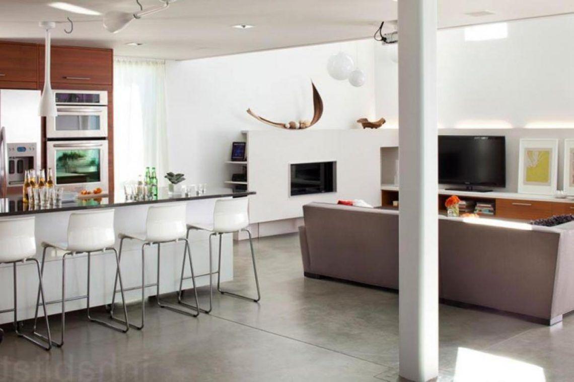 Living room built with kitchen plus mini bar white elegant design ...