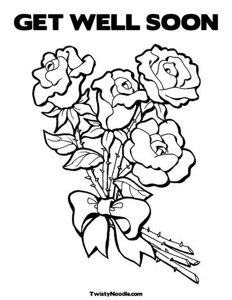 Get well soon roses rmh lunch bags pinterest rose for Get well soon card coloring pages