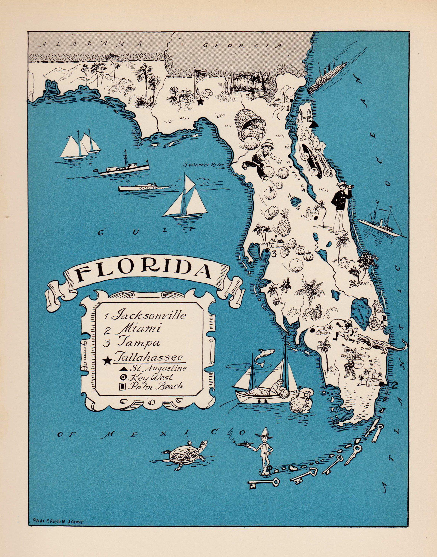 United States Map Florida.30 S Vintage Animated Florida State Map Of Florida Cartoon Map Print