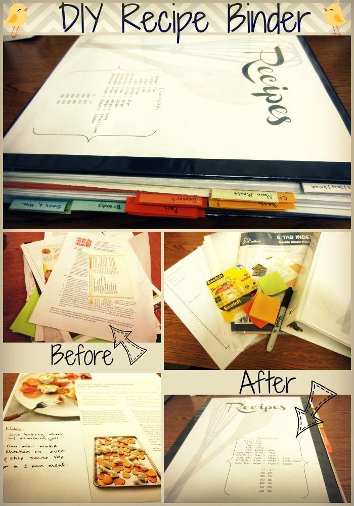 Diy Recipe Binder Tutorial Templates With Images Diy Recipe