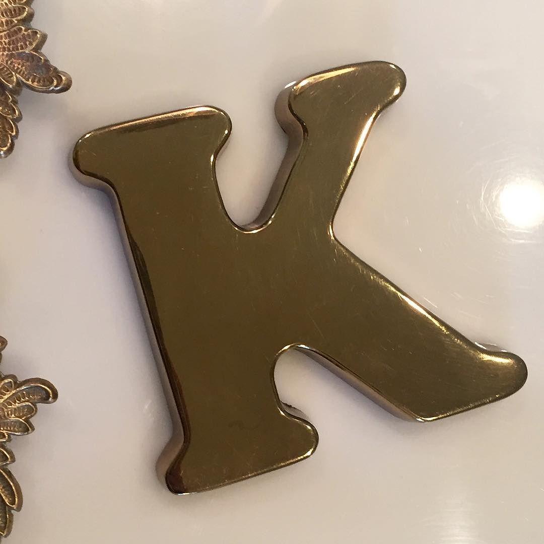 """Brass letter """"K"""" paperweight 4""""x4"""" $18 #shopthealist #vintage #brassisback"""