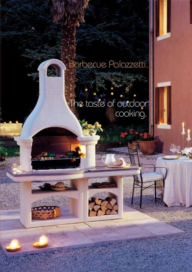 gartenkamine terrasse grillen palazzetti weiß verputzt regale