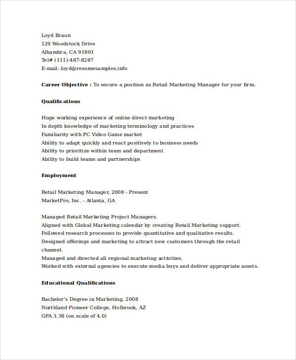 Retail Marketing Manager Resume , Marketing Resume Samples for - marketing retail sample resume