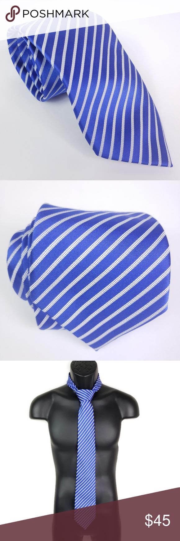 Trump Signature Collection Blue White Striped Tie Striped Tie Blue And White Signature Collection