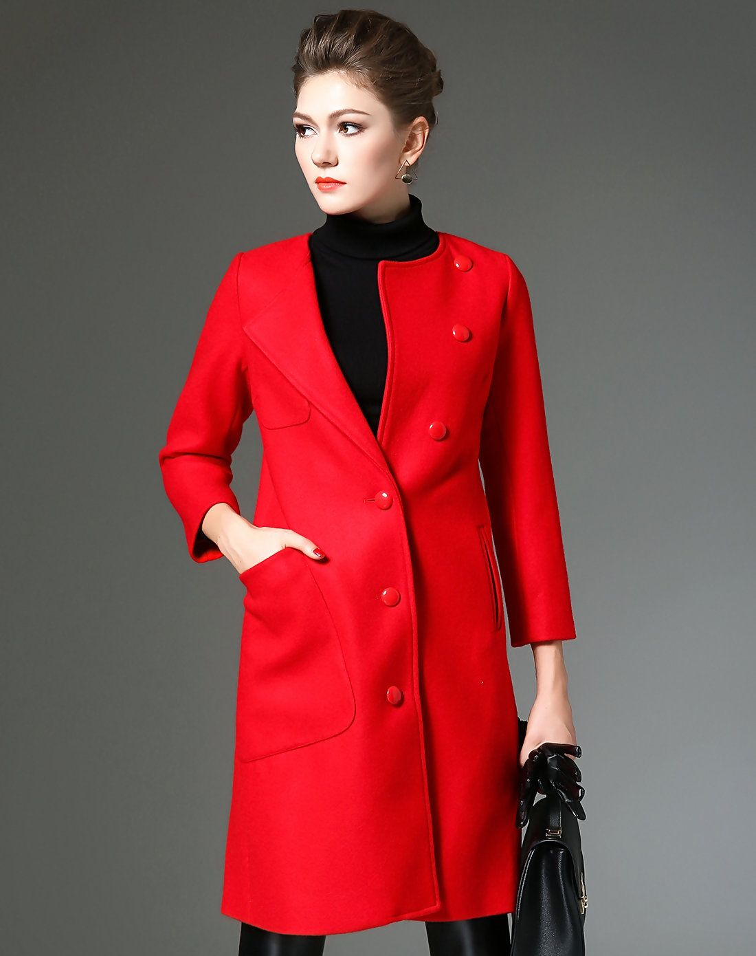 #AdoreWe #VIPme Coats - QILI Red 3/4 Sleeve Single-breasted Long Woolen Coat with Pockets - AdoreWe.com