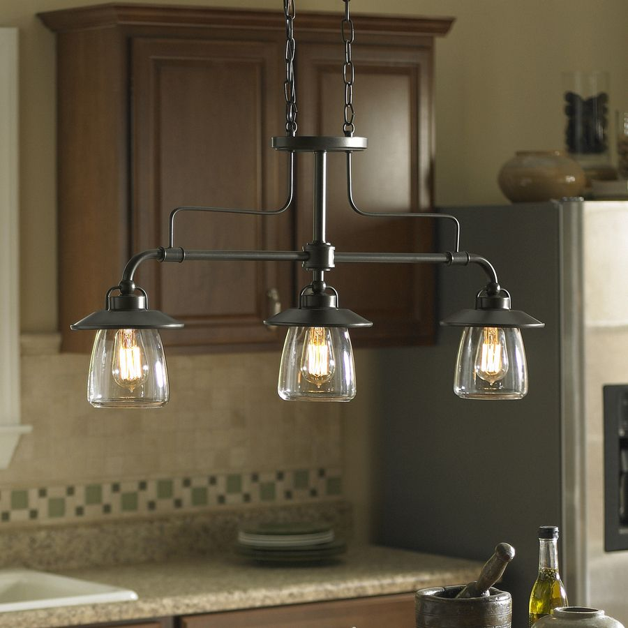 Shop Allen Roth Bristow 36 In W 3 Light Mission Bronze Kitchen Island Light With Clear Shade