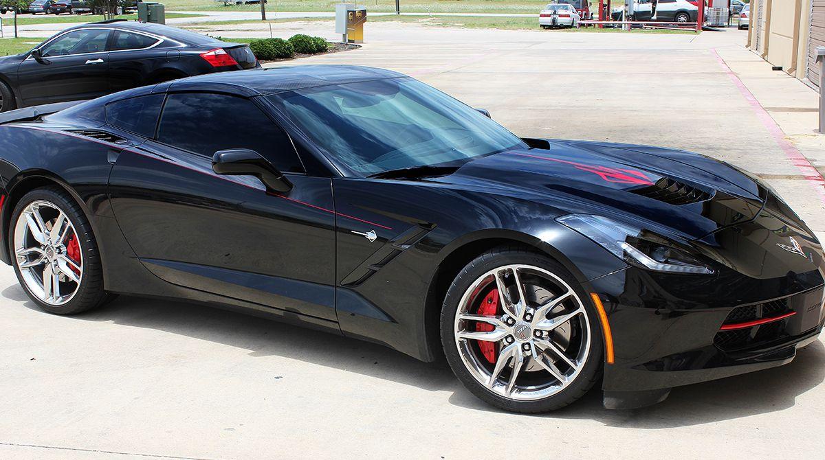 Red Accent Graphics on Black Corvette Car wrap, Black