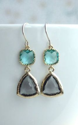 Grey Black Diamond Framed Glass Drop Zircon Aqua Blue