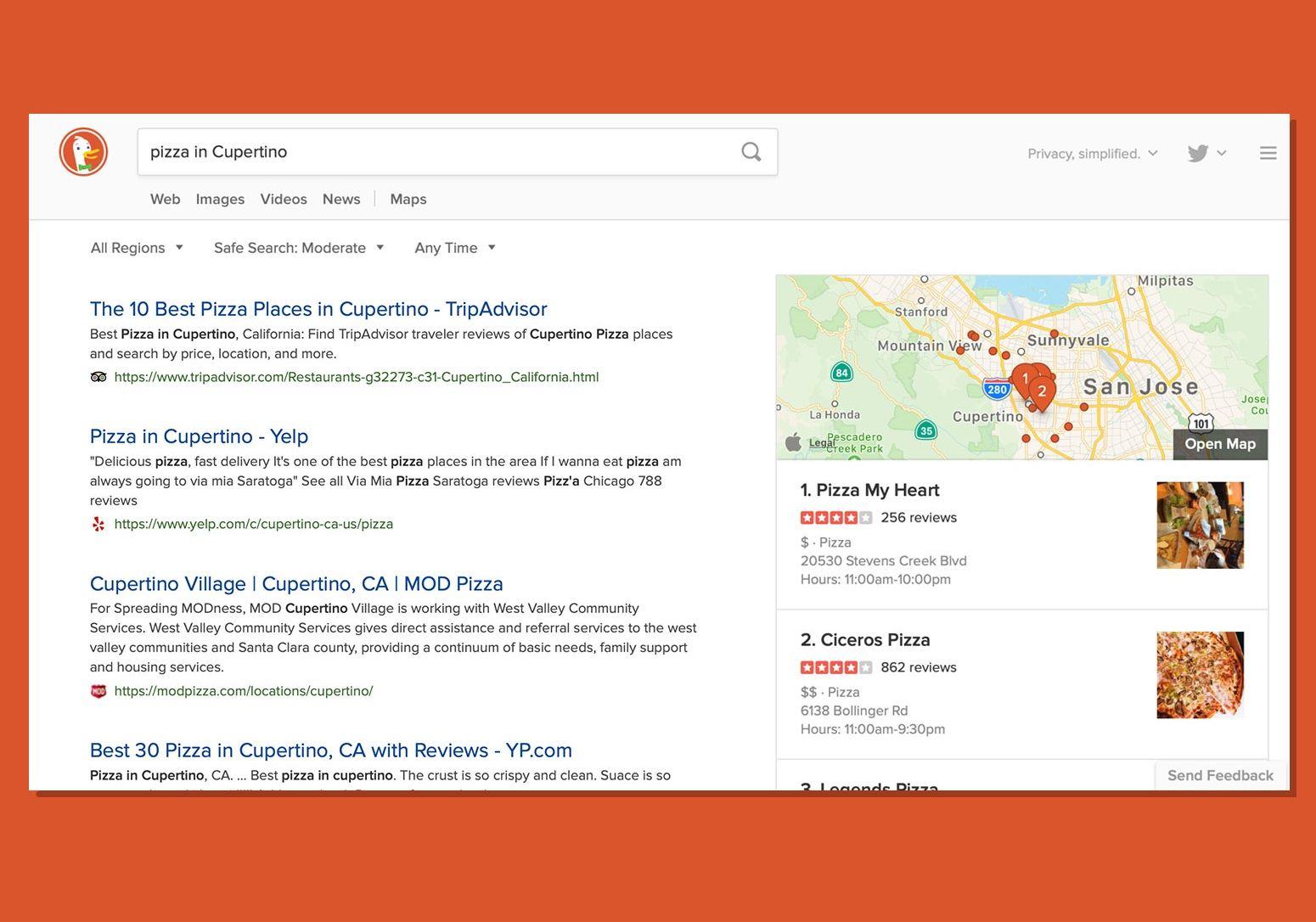 DuckDuckGo integrates Apple Maps with local web searches