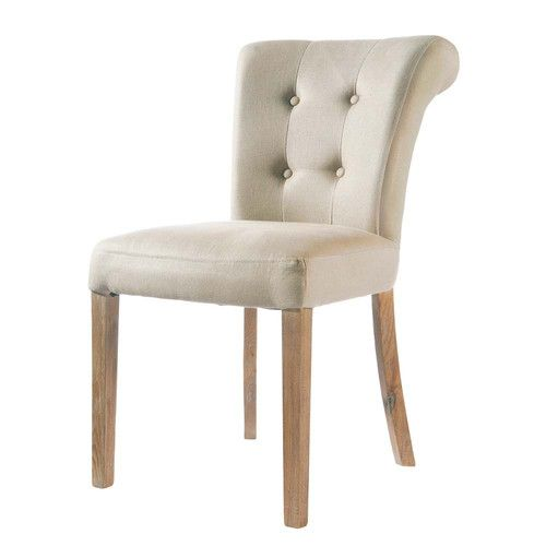 gepolsterter stuhl aus leinen ecru home and decoration st hle stuhl polstern und esszimmer. Black Bedroom Furniture Sets. Home Design Ideas