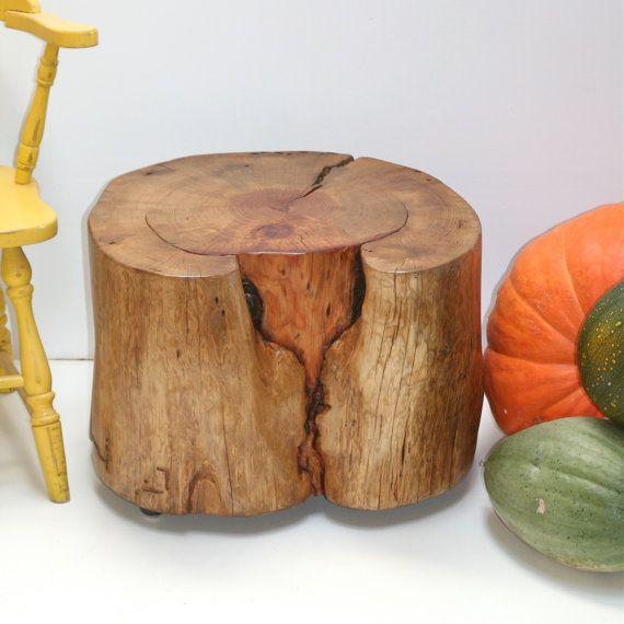 Large Wood Tree Stump Coffee Table On Casters Wheels