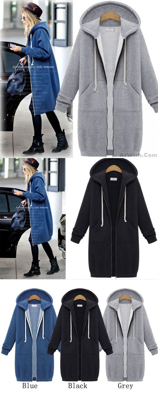 b8c86a4dbb92e Fashion Long-sleeved Sweater Coat Long Hooded Coat Thicker Coat Pullover for  big sale!  sweater  coat  hooded  thicker