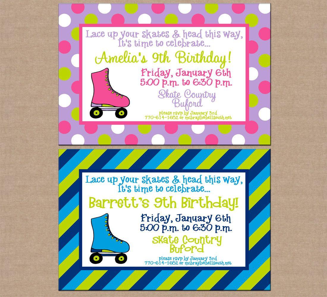 12 Personalized Printed Boy or Girl Roller Skate Rollerskating Ice ...