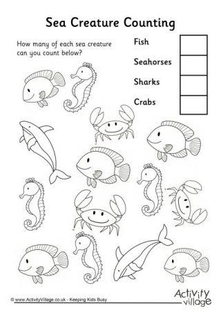 sea creature counting 3 worksheet animal worksheets water animals preschool water animals. Black Bedroom Furniture Sets. Home Design Ideas