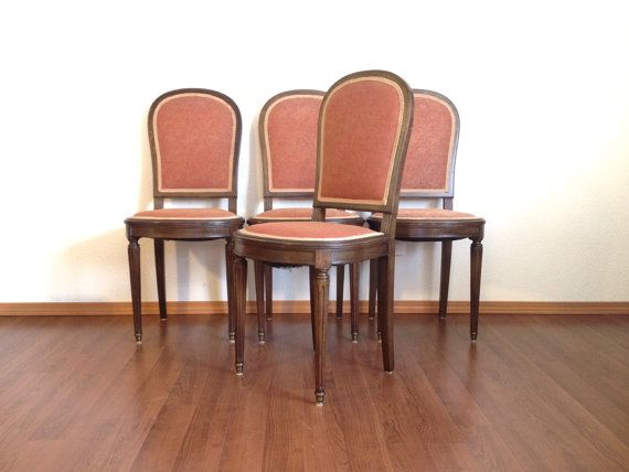 set of 4 vintage dining chairs with fluted legs. retro dining room furniture. | ReRunRoom |