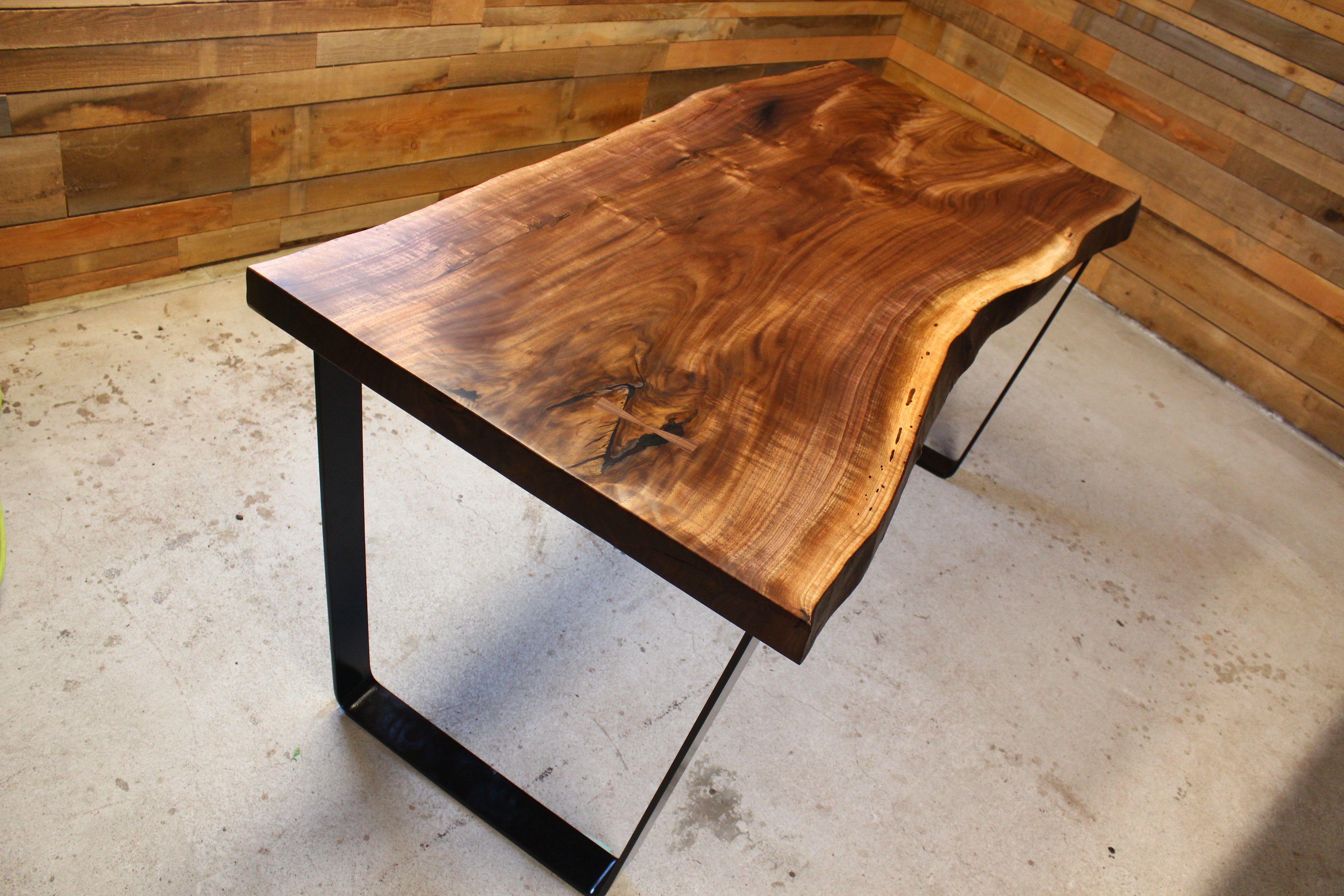 Black Walnut Live Edge Desk Table Wood Handmade Wood Slab Custom Made To Order In 2020 Live Edge Desk Live Edge Furniture Live Edge Table