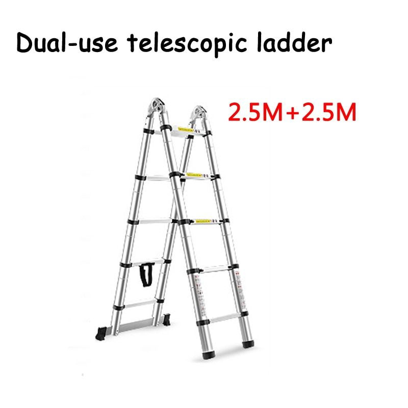 Wtq719 Construction Tools Construction Tools 2 5m2 5m Aluminum Telescopic Ladder With Joint Multifunctional Al In 2020 Telescopic Ladder Construction Tools Ladder
