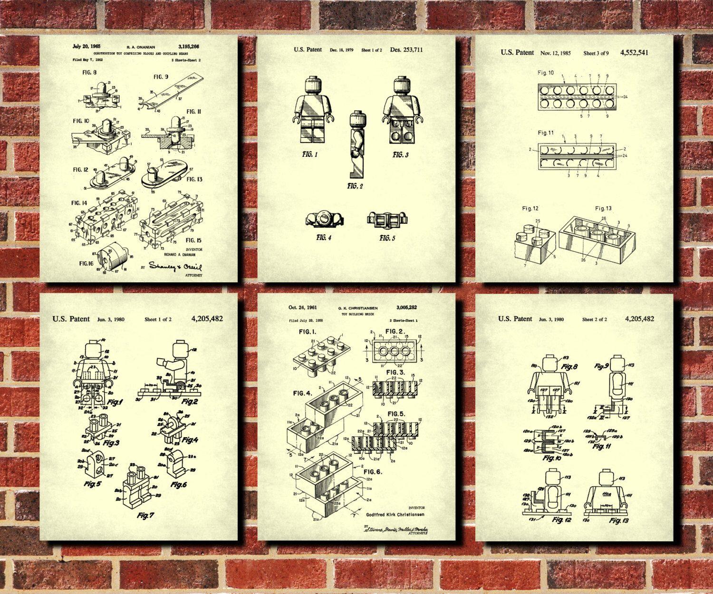 Lego patent prints set of 6 lego posters building block posters set lego patent prints set of 6 lego posters building block posters set art blueprint lego art malvernweather Image collections