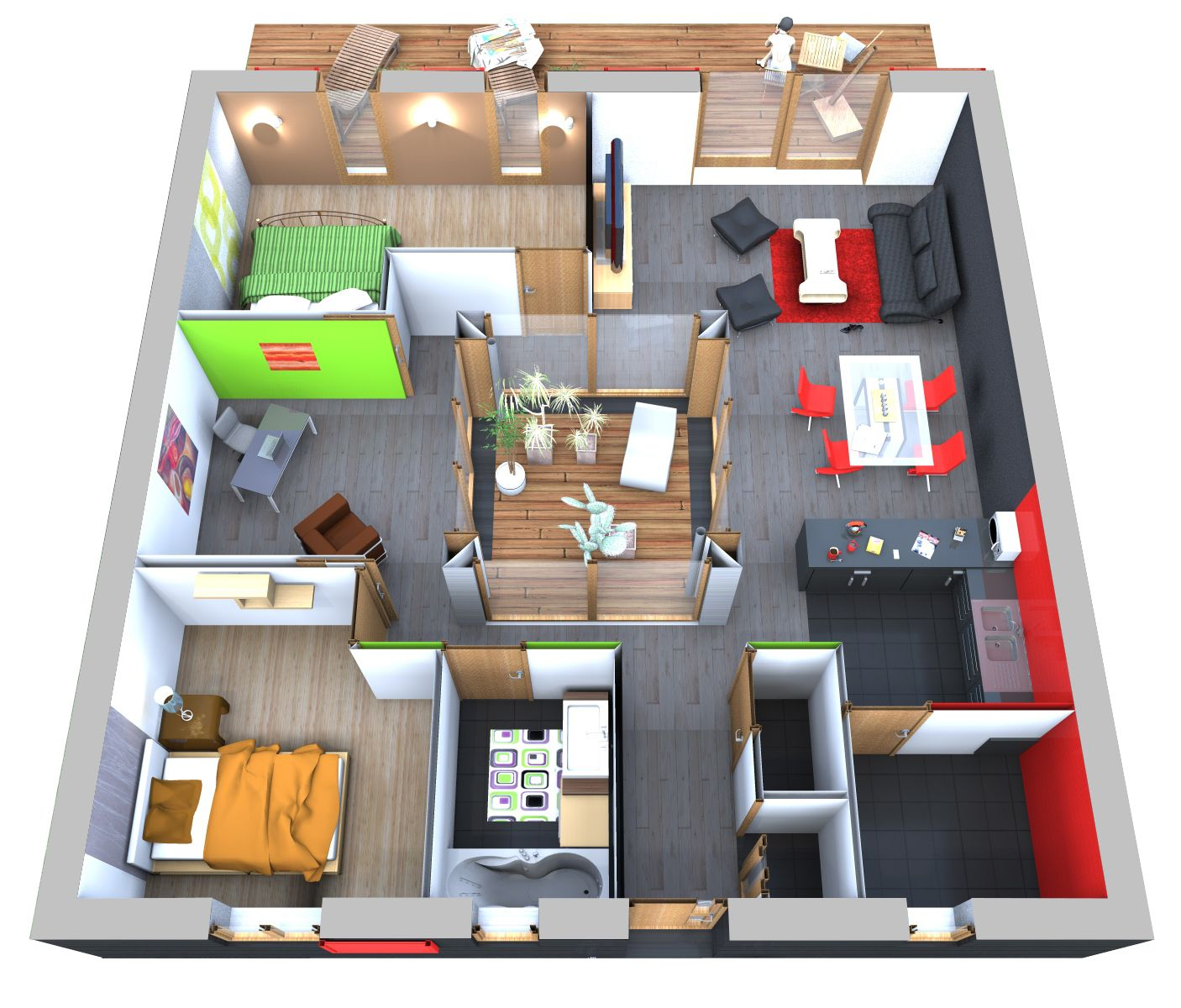 Plan Maison 90m2 3d En 2019 Plan Maison Plan Maison 90m2