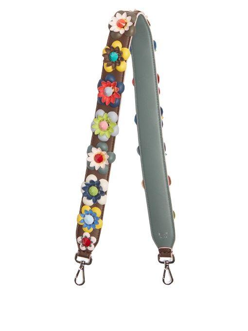 e3f0879f0125 FENDI Floral-Appliqué Leather Bag Strap.  fendi  bags  shoulder bags   leather  lining
