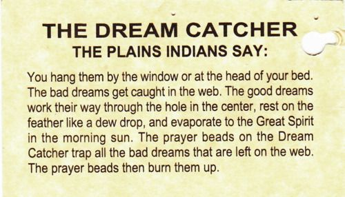 The Dream Catcher The Plains Indians Say You Hang Them Up By The