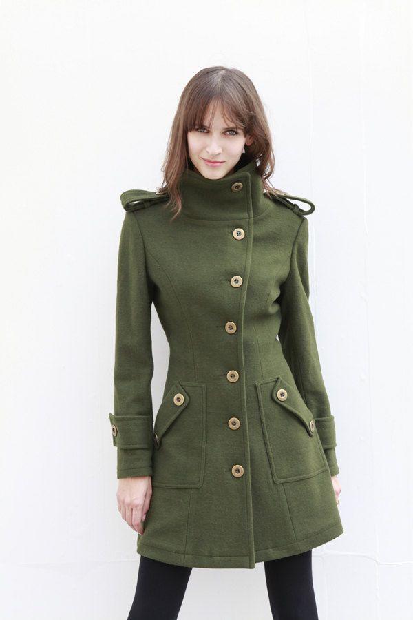 b57a811fa71 Army Green Fitted Cashmere Coat Military Jacket Winter Wool Coat Women Coat  - Custom Made - NC446.  139.99