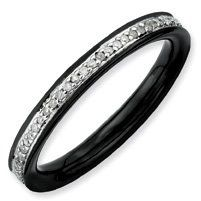 Sizes 5-10 Stackable Expressions Sterling Silver Black IP Ring